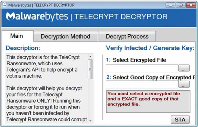 """Der von Malwareybytes jetzt zur Verfügung gestellte """"TeleCryptz Decryptor"""" (Screenshot: Malwartebytes)Der von Malwareybytes jetzt zur Verfügung gestellte """"TeleCryptz Decryptor"""" (Screenshot: Malwartebytes)"""