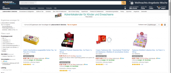 Amazon Weihnachtsangebote (Screenshot: ZDNet.de)