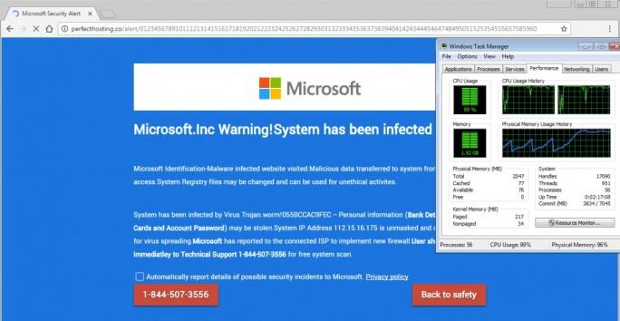 Tech-Support-Scammer nutzen vermehrt eine Lücke in HTML5 um Opfer zum Anruf bei ihrer Nummer zu bewegen (Screenshot: Malwarebytes)