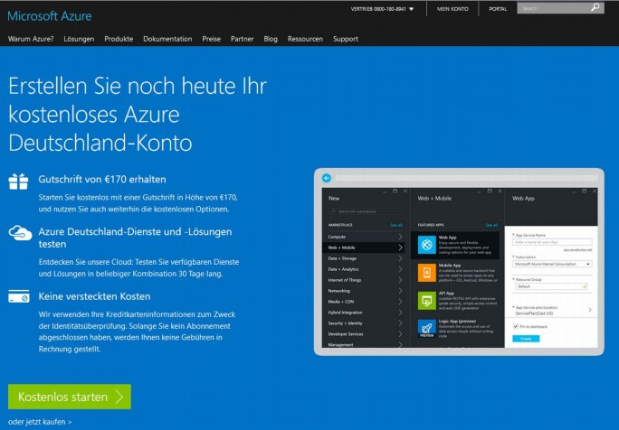 Azure Cloud Deutschland Buchungswebsite (Screenshot: silicon.de)