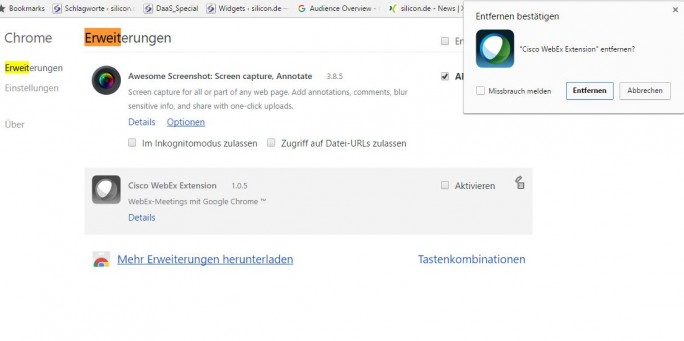 Cisco Webex Chrome Extention (Screenshot: silicon.de)