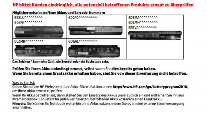 GHP-Akku-Rückruf (Bild: HP)