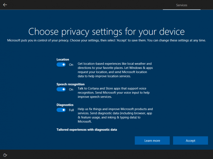 Windows 10 oobe Privacy (Bild: Microsoft).