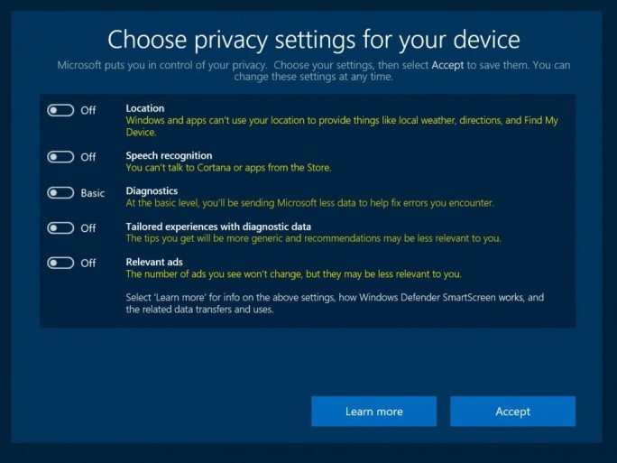 Windows 10 Privacy Settings (Screenshot: Microsoft)