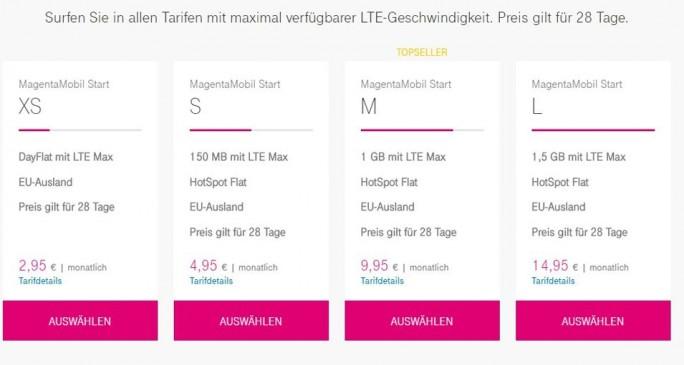 Die aktuellen Aktuelle Prepaid-Tarife der Telekom (Screenshot: ITespresso.de)