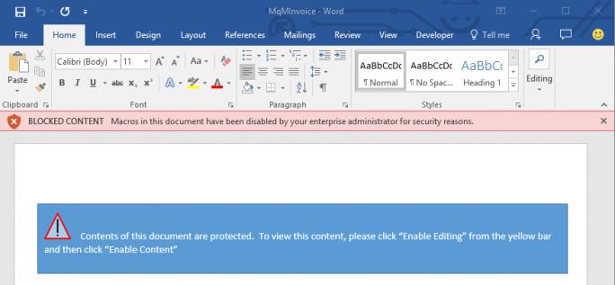 Bei entsprechender Einstellung werden Makros durch Office 2016 blockiert und die Aktivierung durch Anwender verhindert (Bild: Microsoft).