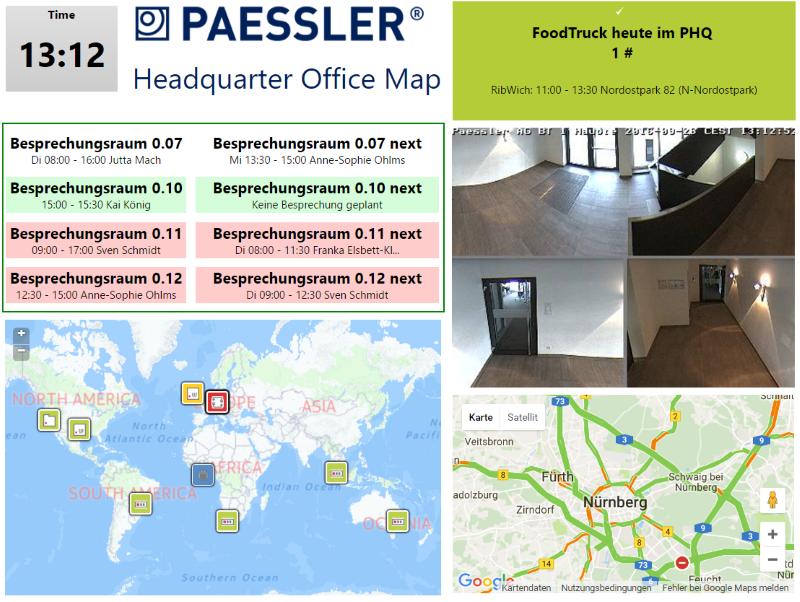 Die PRTG-Office-Map im Paessler-Büro informiert unter anderem über Besprechungsraumbelegungen, Mittagessensoptionen und die aktuelle Verkehrslage (Bild: Paessler AG)