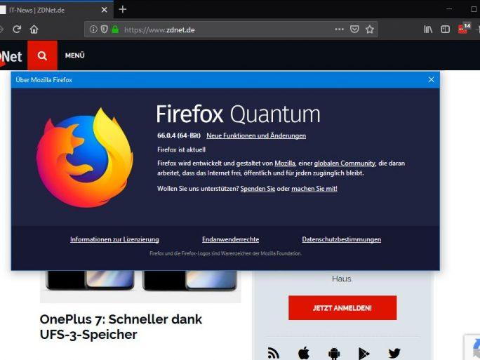 Firefox 66.0.4 behebt das Problem deaktiverter Add-Ons (Screenshot: ZDNet.de)