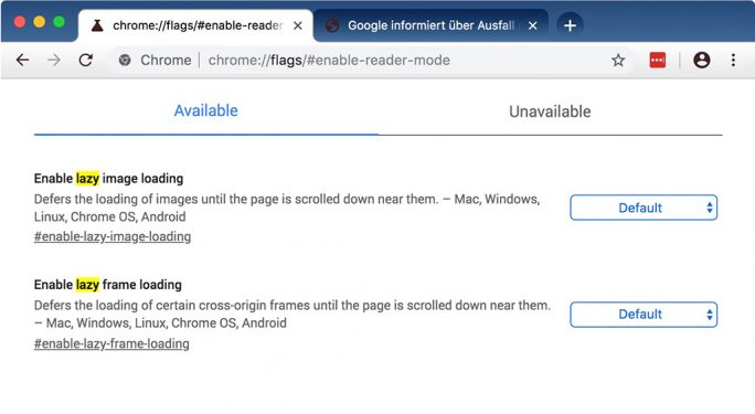 Chrome 75: Lazy-Mode (Screenshot: ZDNet.de)