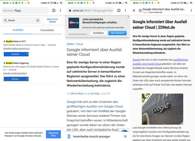 Chrome: Lesemodus unter Android (Screenshot: ZDNet.de)