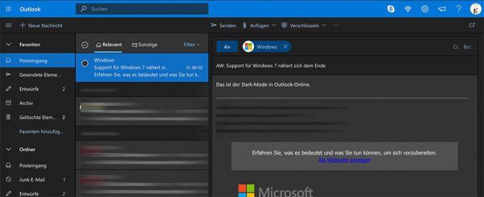 Für Outlook-Online hatte Microsoft den Dark Mode bereits letztes Jahr eingeführt (Bild: ZDNet.de).